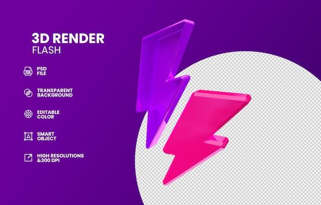 3d thunder bolt isolated in 3d render