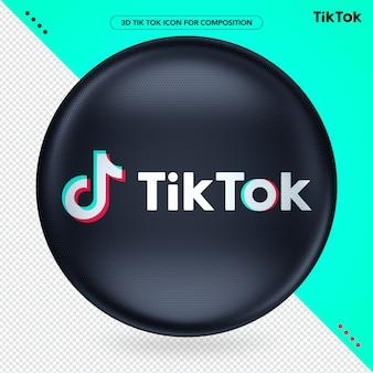 Черный эллипс 3d логотип tik tok для композиции