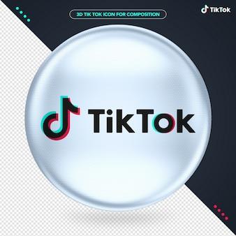 Белый эллипс 3d логотип tik tok для композиции