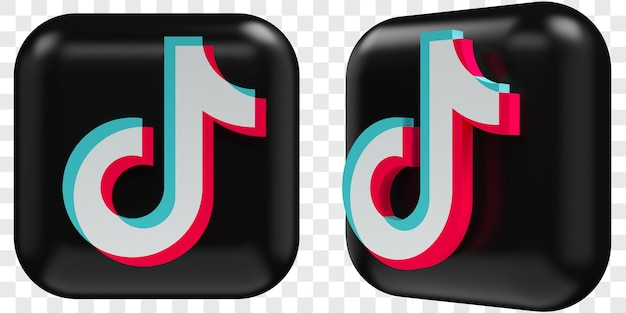 3d tiktok icons in two angles front and three quarters isolated illustrations