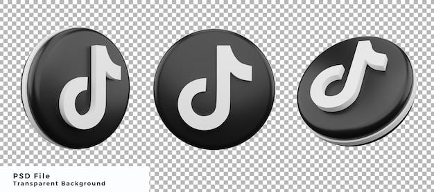 Набор элементов дизайна значка логотипа 3d tiktok с различными углами высокого качества