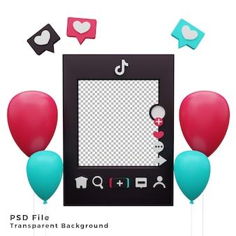3d шаблон макета tiktok с изображением значка воздушного шара высокого качества Premium Psd