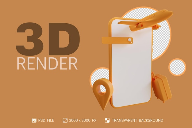 3d time travel design with phone, plane, suitcase, pin and search bar isolated background