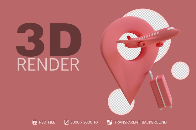 3d time travel design with plane, suitcase and pin location isolated background