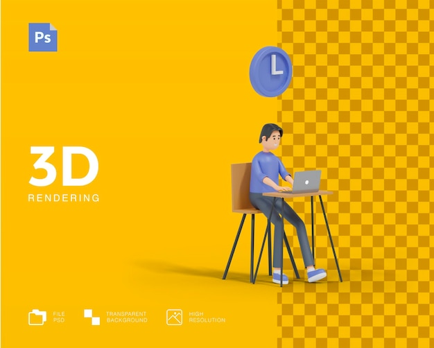 3d time to work concept rendering