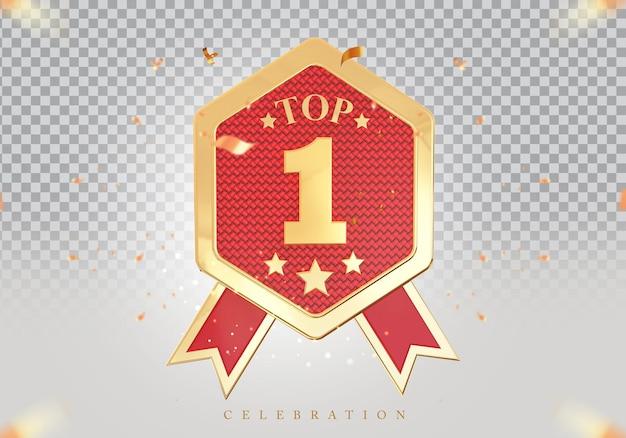 3d top 1 best podium award sign golden