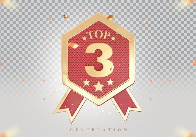 3d top 3 best podium award sign golden