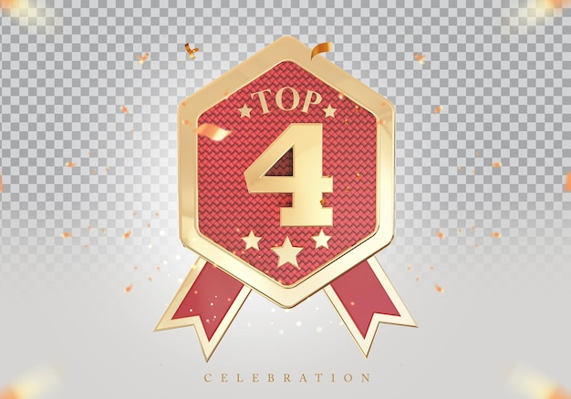 3d top 4 best podium award sign golden