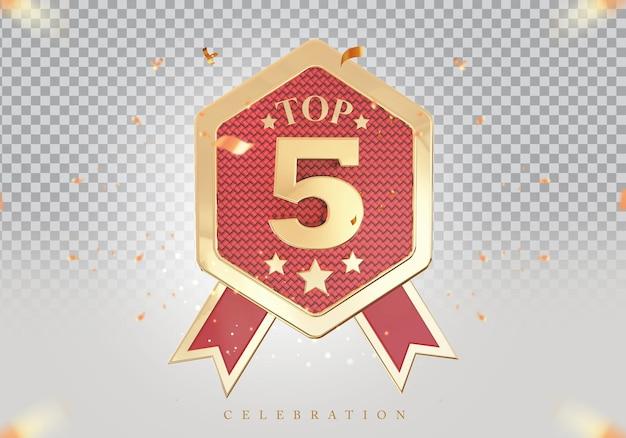 3d top 5 best podium award sign golden