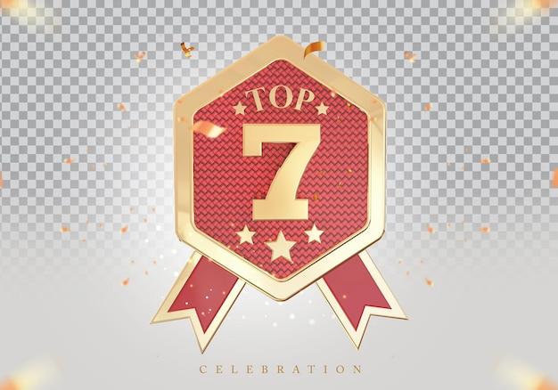 3d top 7 best podium award sign golden
