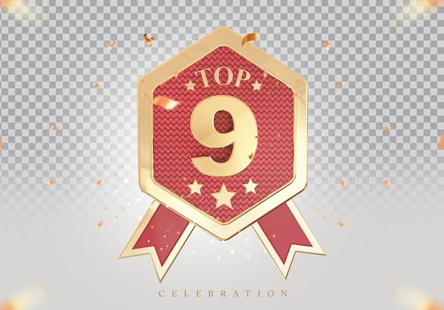 Золотой знак награды за лучший подиум 3d top 9