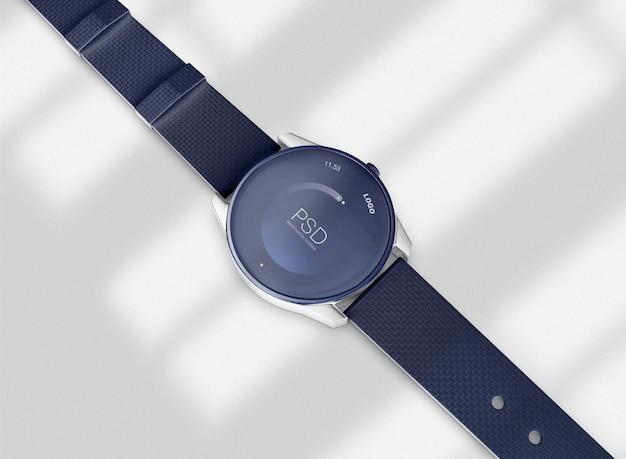 그림자가 있는 smartwatch 모형의 3d 평면도