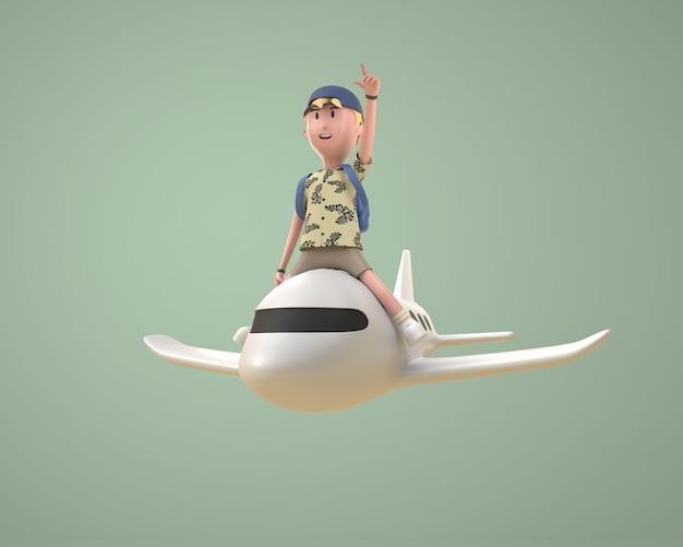 3d tourist man drive a plane character