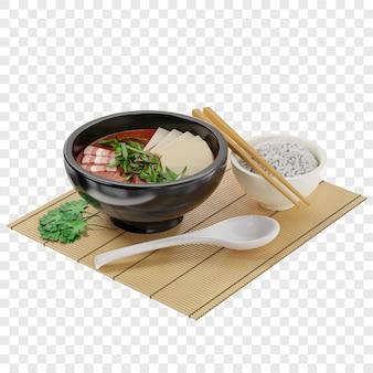 3d традиционный корейский суп кимчи с мясом, украшенный тофу и зеленым луком. изометрическая проекция.