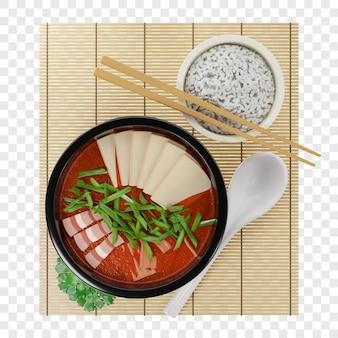 3d традиционный корейский суп кимчи с мясом, украшенный тофу и зеленым луком вид сверху