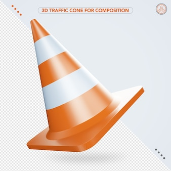 3d traffic cone flying in the air