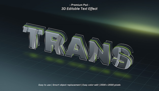 3d trans editable text effect