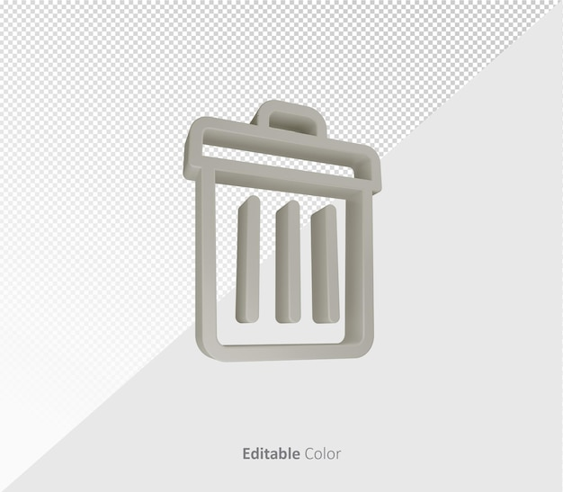 3d trash symbol or icon psd template with editable color