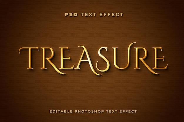 Шаблон текстового эффекта 3d сокровищ с золотым цветом