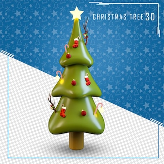 3d tree star merry christmas isolated Premium Psd