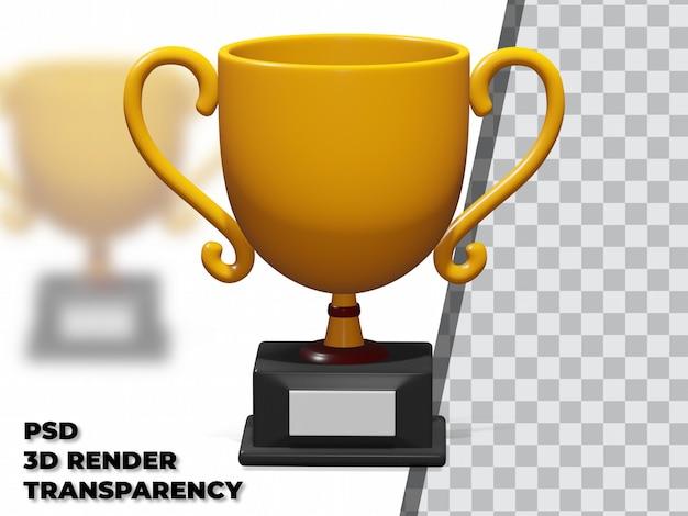 3d-трофей с моделированием прозрачности и рендеринга premium psd