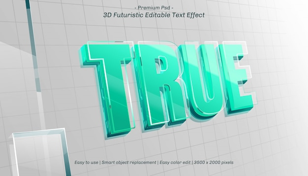 3d true editable text effect