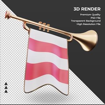 3d 트럼펫 오스트리아 국기 렌더링 왼쪽 보기