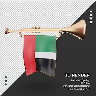 3d труба флаг объединенных арабских эмиратов рендеринга вид спереди