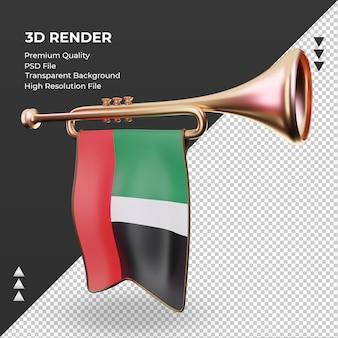 3d труба флаг объединенных арабских эмиратов рендеринга правый вид