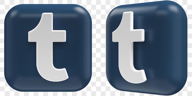 3d иконки tumbl в двух углах спереди и три четверти изолированных иллюстраций