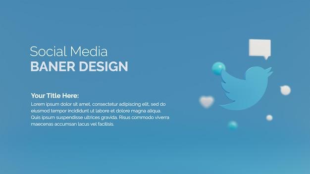 Значок 3d twitter с шаблоном баннера в социальных сетях