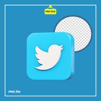 Значок 3d twitter