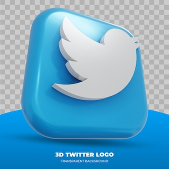 3d twitter logo isolated in 3d rendering
