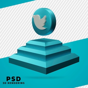 3d twitter rendering isolated