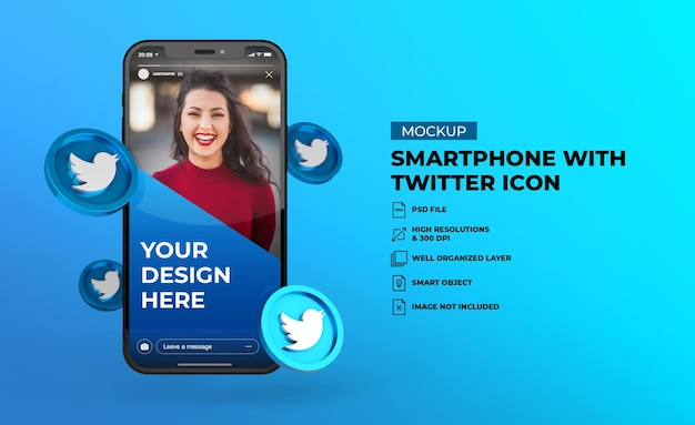 3d иконки социальных сетей twitter с макетом мобильного экрана смартфона