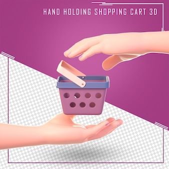 3d two hands hold a shopping basket