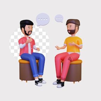 3차원, 두 명의 남성 캐릭터가 대화를 나누는 동안 앉아 있다