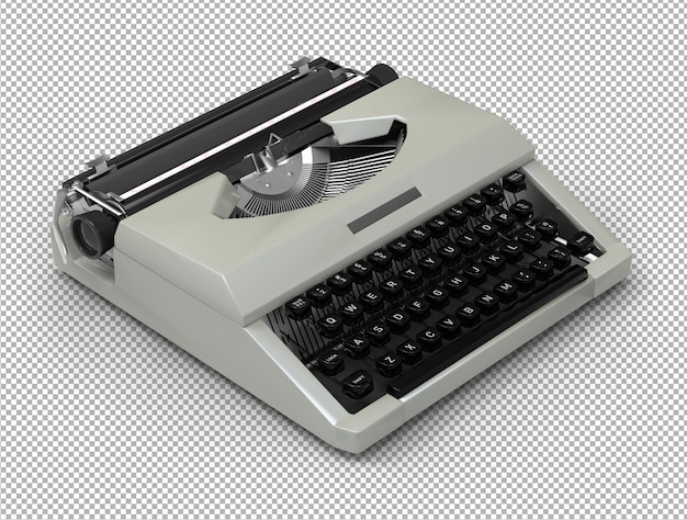 3d typewriter isolated.