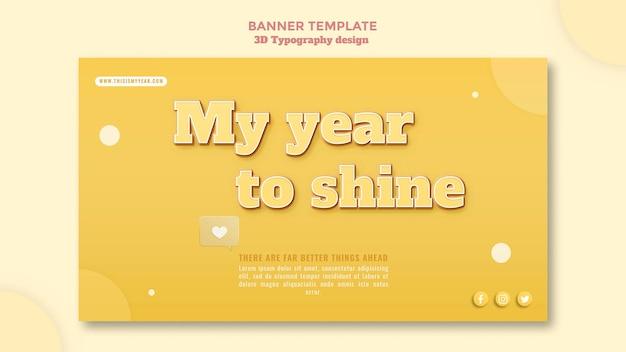 Banner di design tipografia 3d