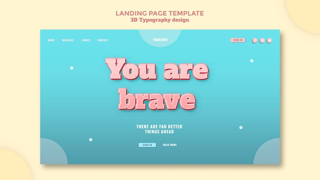 3d typography design landing page