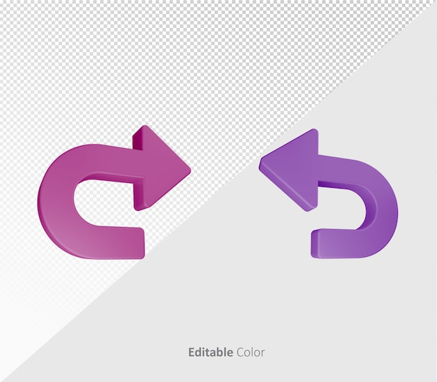 3d undo redo symbol or icon bundle pack  psd template with editable color