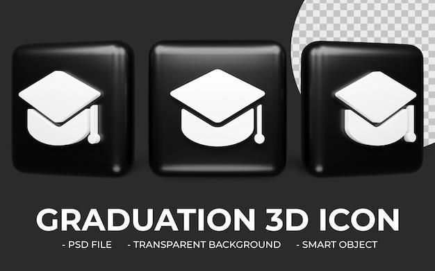3d 대학 졸업 아이콘 또는 학술 모자 고립 된 아이콘