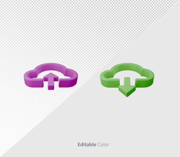 3d upload download bundle psd template with editable color