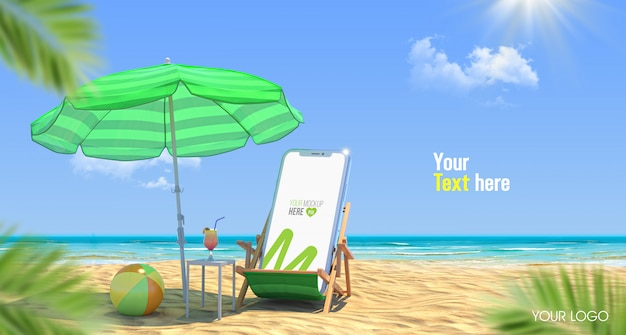 3d休暇用携帯電話のモックアップ