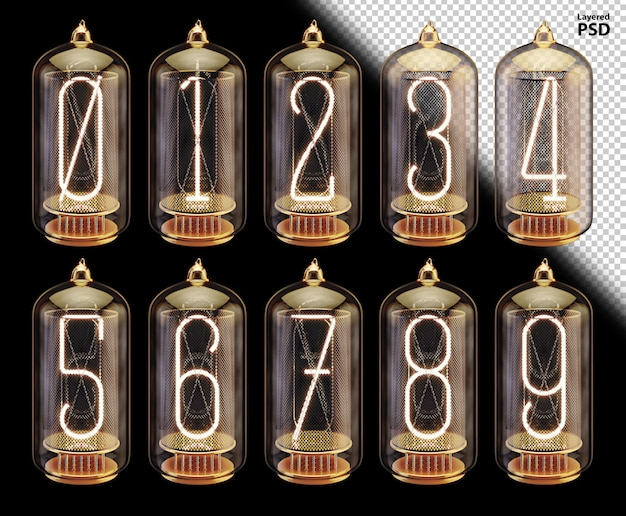 빛나는 숫자와 3d 진공관 글꼴
