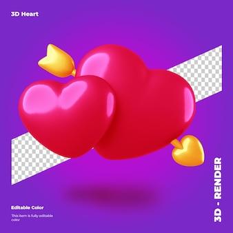 3d валентина сердце со стрелкой изолированные