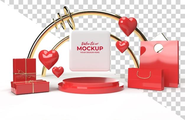 3d valentine mockup promotional stage render for advertisement
