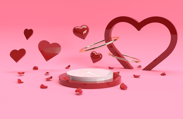 3d valentine product golden ring red heart stage scene in 3d rendering