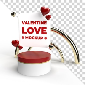 3d valentine stage mockup render isolated