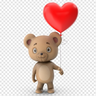 3d valentines cute teddy bear front view